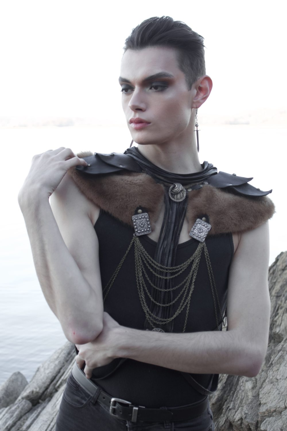 Upcycled Leather and Vinatge Fur Fantasy Harness